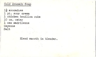 Mom's original recipe card for her cold avocado soup
