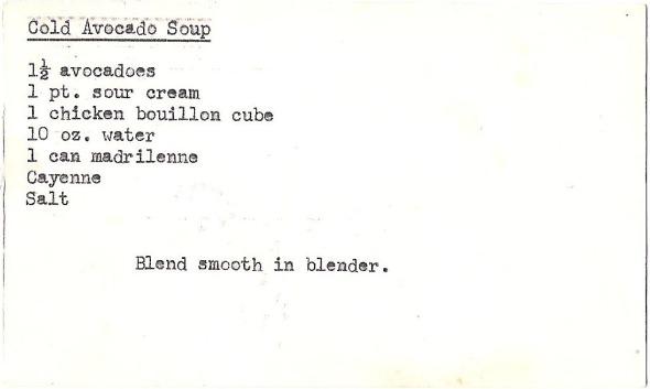 Mom's original recipe card for her cold avocado soup