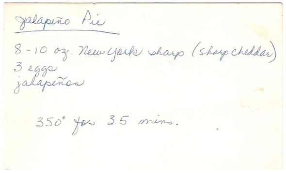 A scan of Mom's original jalapeño pie recipe card