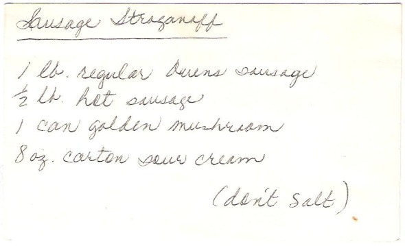 A Scan Of Mom's Original Sausage Stroganoff Recipe