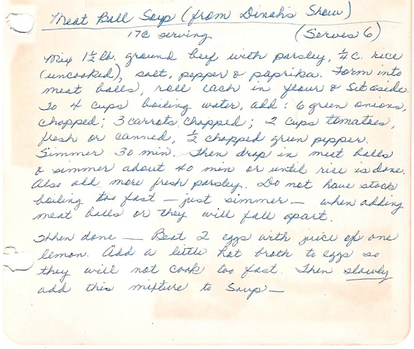 a scan of the original meatball soup recipe
