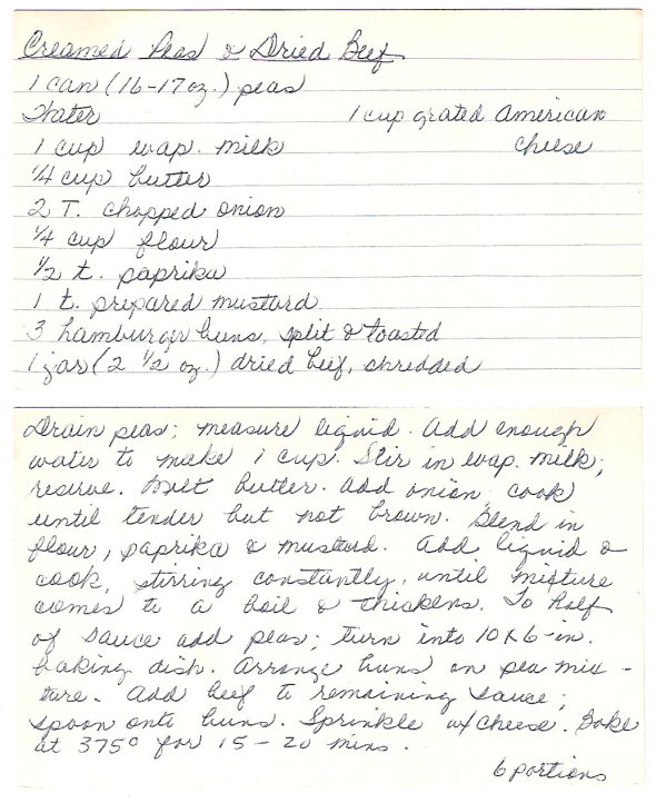 "mom's original recipe for creamed peas and dried beef (a.k.a. ""s.o.s."")"