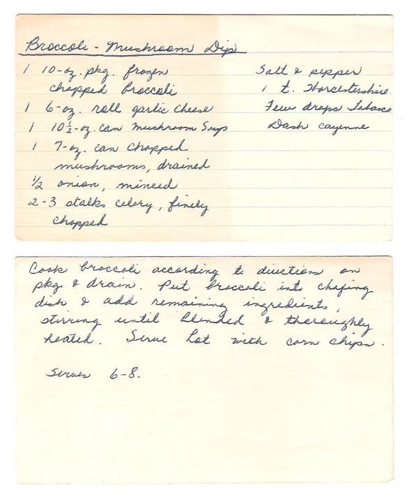 mom's original broccoli-mushroom dip recipe card