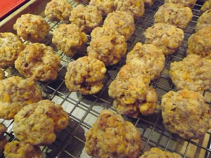sausage balls hot out of the oven