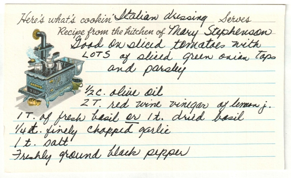 the original italian dressing recipe cardthe original italian dressing recipe card written by mom... the recipe is from mary stephenson's kitchen