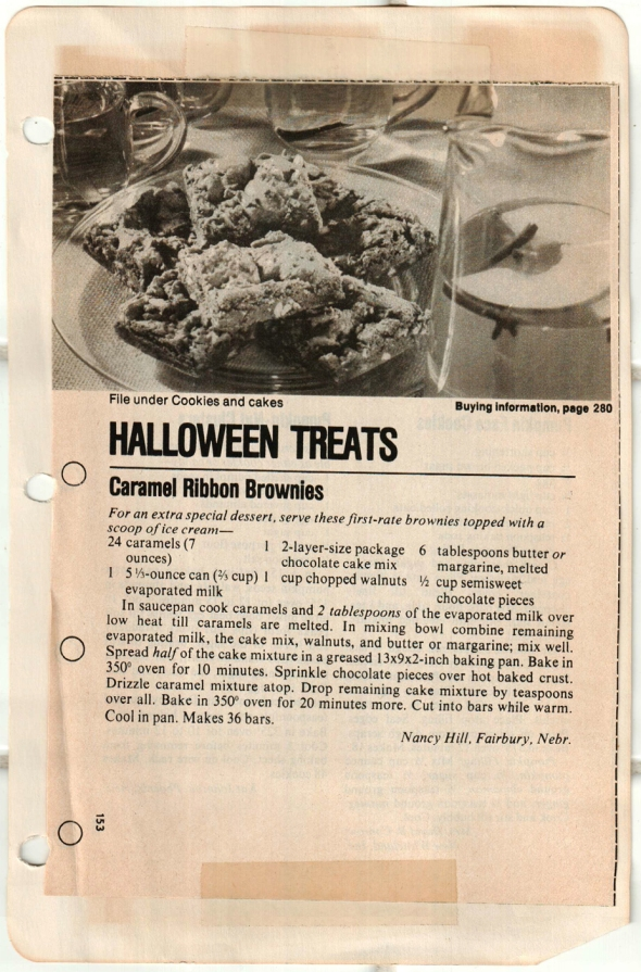 A scan of the originally-clipped halloween treat recipe