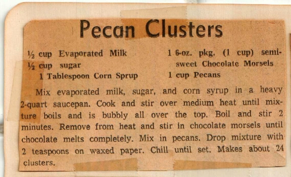 The original pecan cluster recipe clipping
