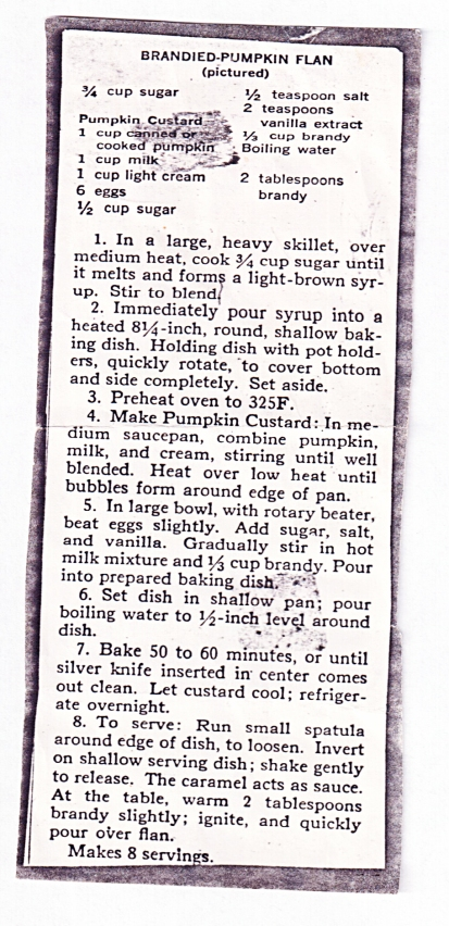 the original brandied pumpkin flan recipe