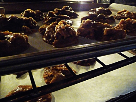 pralines in the oven