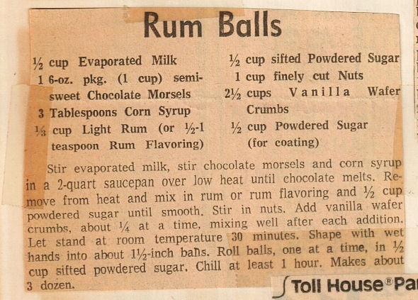 mom's yum yum rum balls recipe