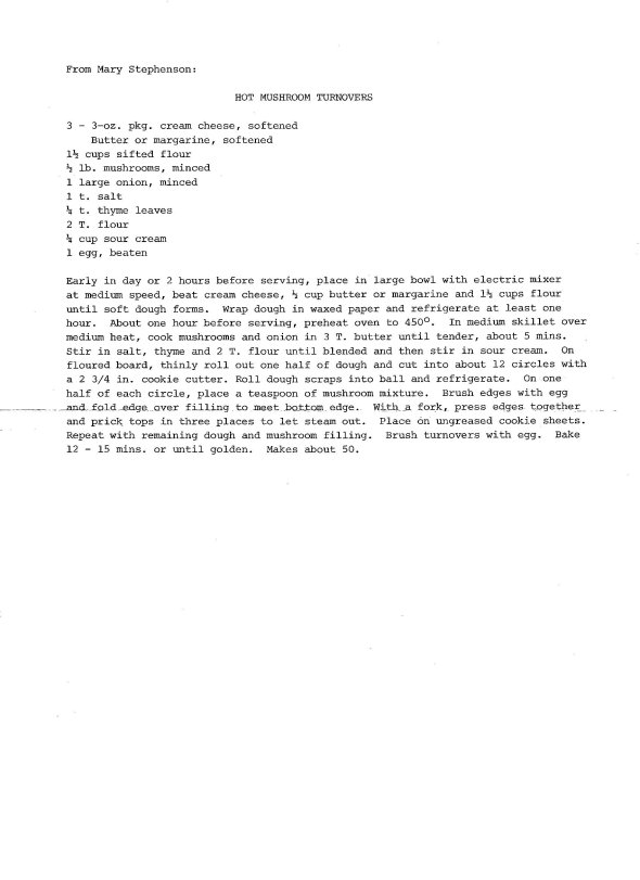 a scan of the original hot mushroom turnover recipe compliments of mary stephenson