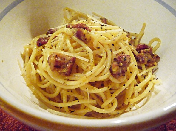 spaghetti carbonara : the finished dish