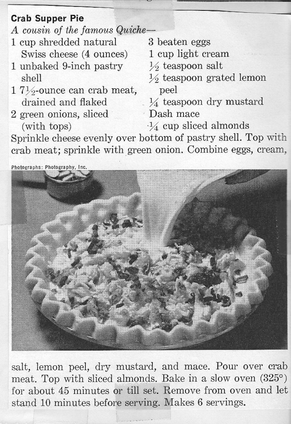 mom's crab supper pie recipe clipping
