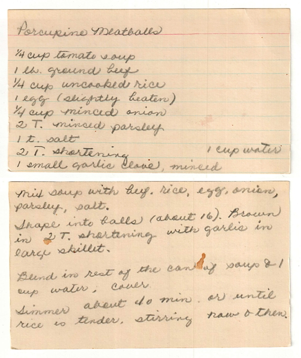 mom's original porcupine meatball recipe card