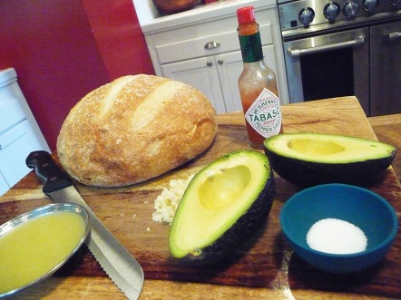 avocado mayonnaise ingredients (the bread's hanging out for the sammy party)