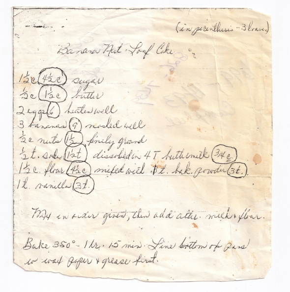 Delores' Original Banana Bread Recipe