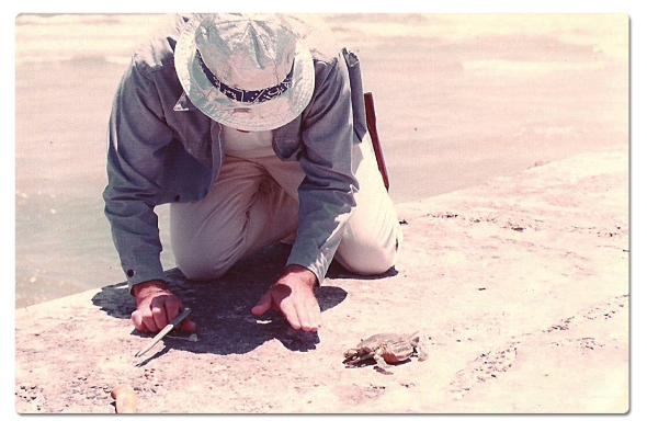 See? I told you my Dad could hypnotize a crab! Photo taken in July 1975.