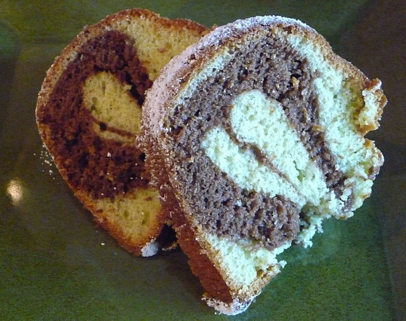 pistachio marble cake. sliced and ready to eat!