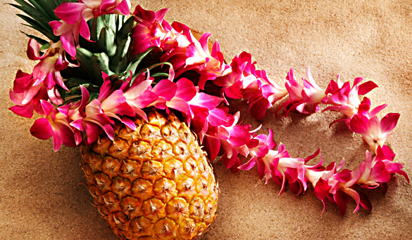 pineapple + lei = glazed ham balls