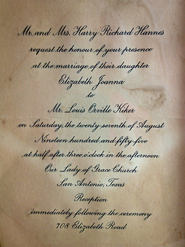 mom and dad's original wedding invite ~ the reception was at aunt sister and uncle bill's house in beautiful terrell hills (san antonio)