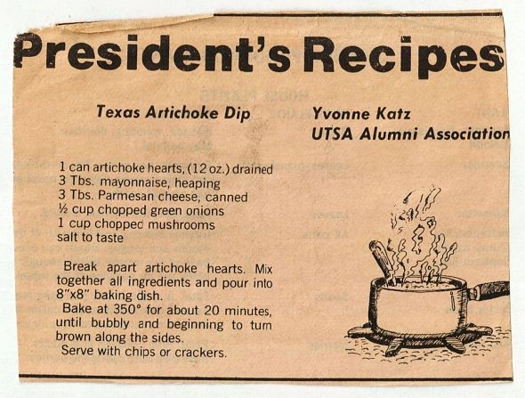 the original texas artichoke dip recipe via yvonne katz