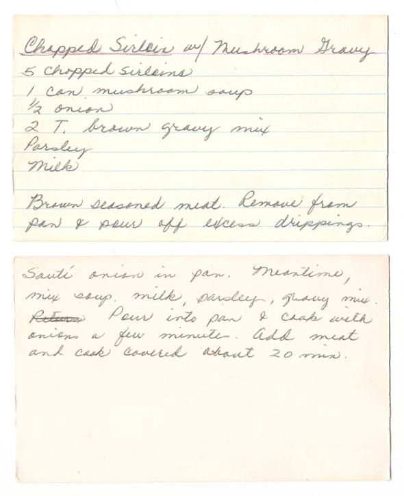 a scan of mom's original recipe for chopped sirloin with mushroom gravy