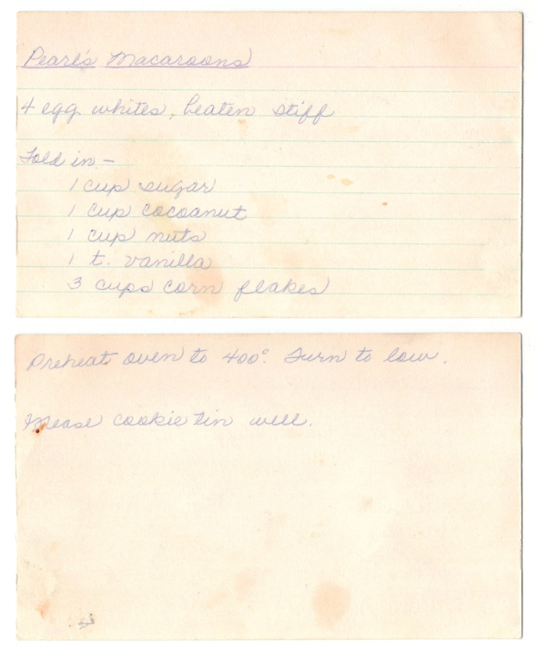 A scan of Mom's recipe for Pearl's Macaroons