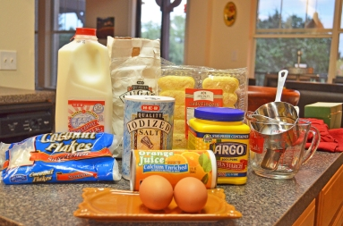 The ingredients for Coconut Orange Ice Box Dessert