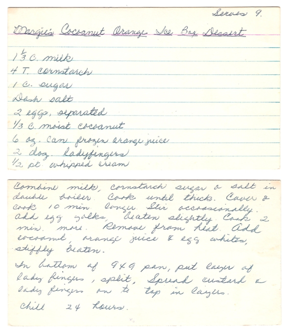 A scan of Mom's recipe for Coconut Orange Ice Box Dessert