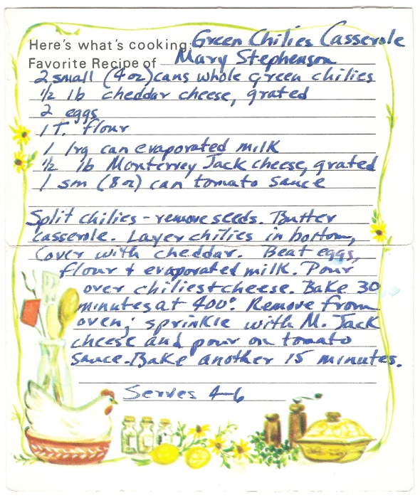 a scan of the original green chilies casserole recipe