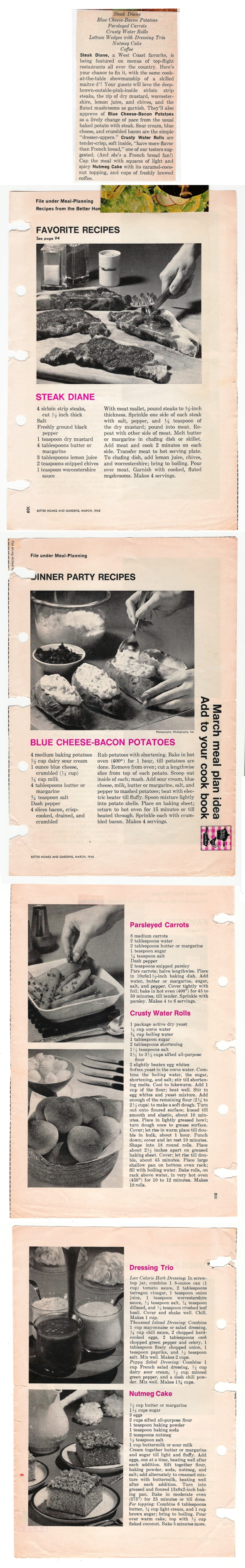 a scan of Mom's steak diane meal - 6 recipes in 1 scan