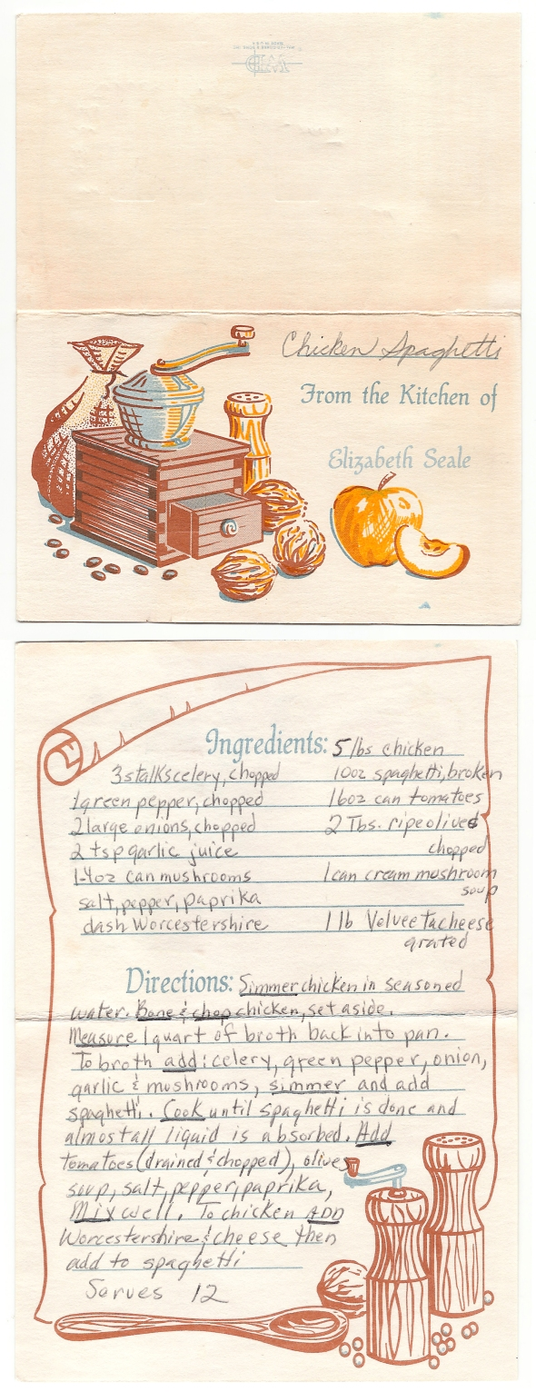 A scan of the chicken spaghetti recipe card from Mom's cookbook