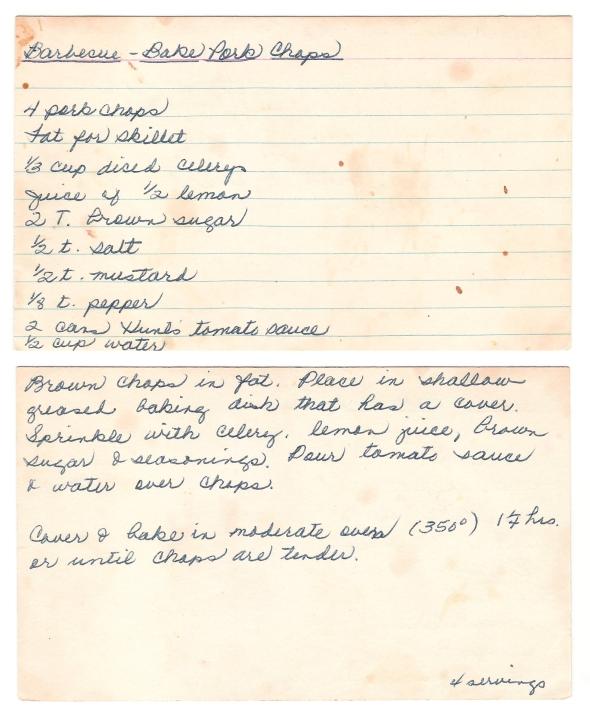 A scan of Mom's original BBQ Baked Pork Chop recipe card