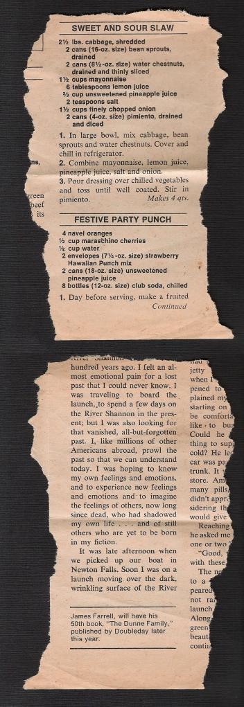 A scan of Mom's original sweet and sour slaw recipe