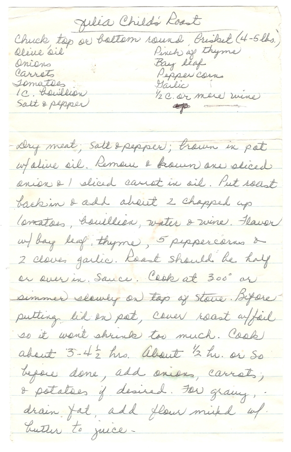 A Scan Of Mom's Handwritten Julia Child's Roast Recipe