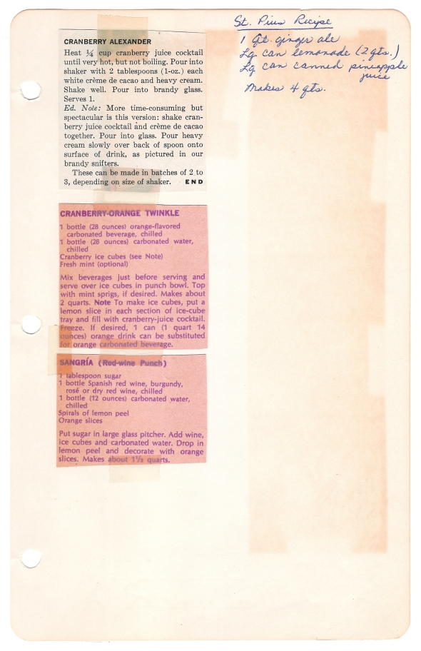 A scan of Mom's Sangria recipe