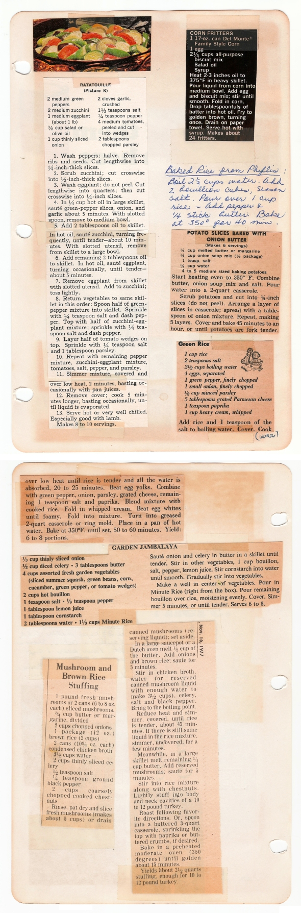A Scan Of Mom's Green Rice Recipe From Bettys Cook Nook