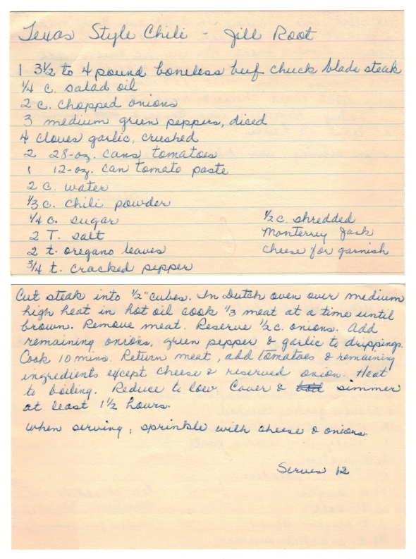 A Scan Of Mom's Recipe For Texas Style Chili That She Scored From Jill Root