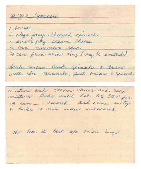 A Scan Of Mom's Orignal Recipe - Jo Jo's Spinach Recipe From Bettys Cook Nook