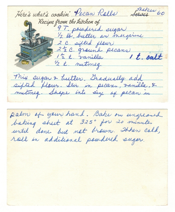 A scan of Mom's Pecan Rolls Recipe From Betty's Cook Nook
