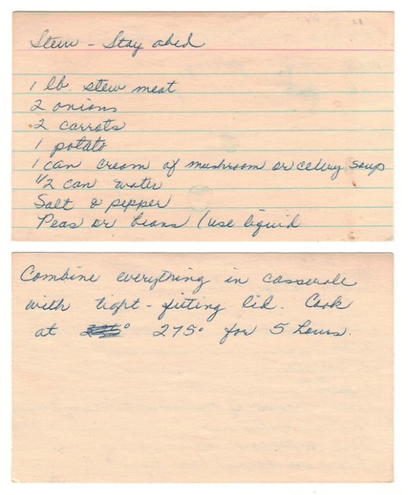 A Scan Of Mom's Stayabed Stew Recipe Card