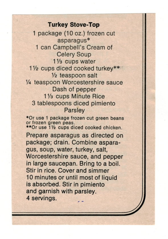 A Scan Of Mom's Turkey Stove Top Recipe From Betty's Cook Nook