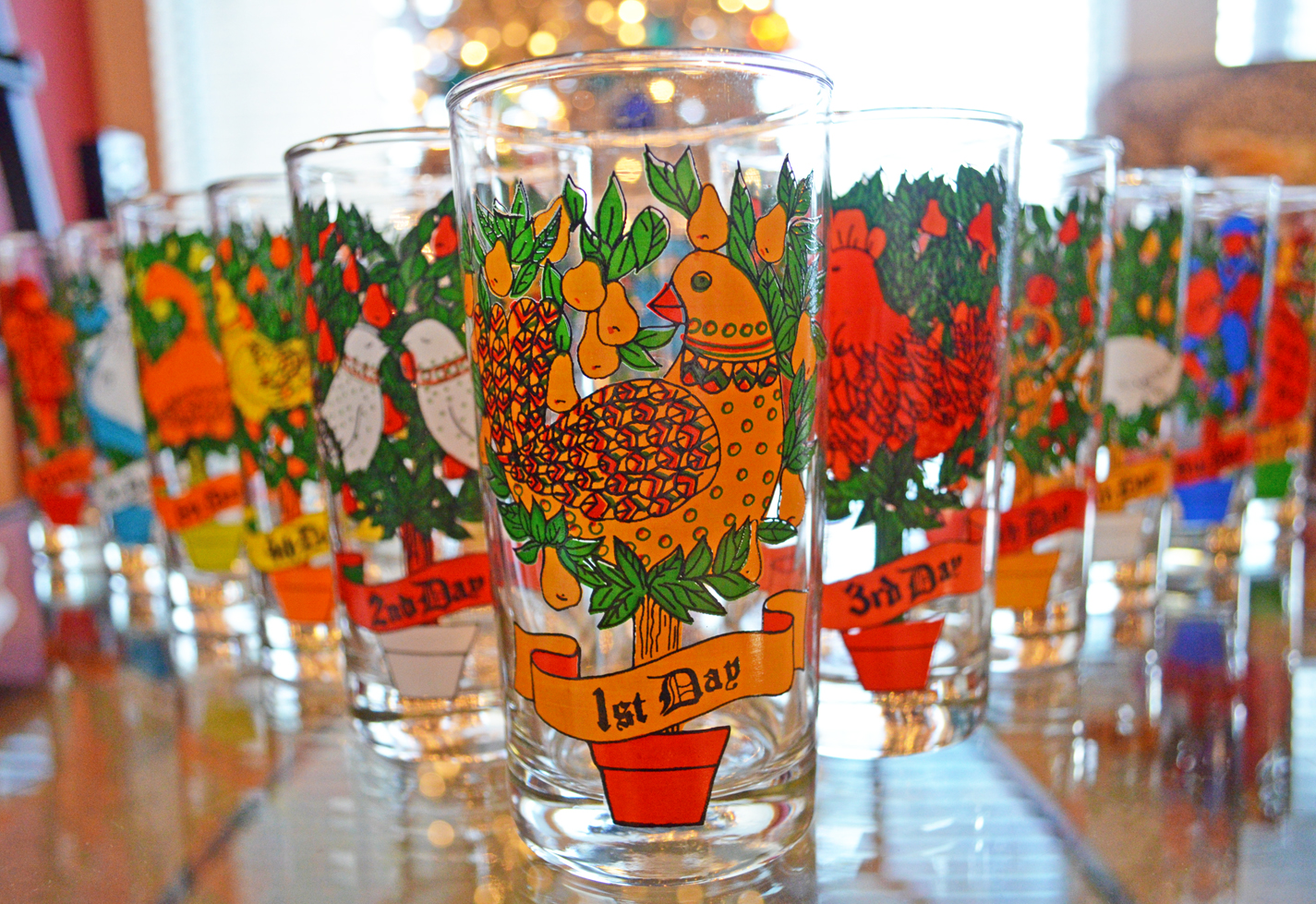 a pic of moms twelve days of christmas glasses