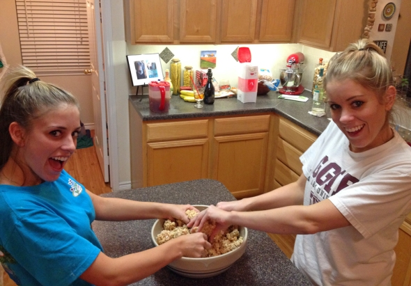 Lizzie and Kim Making Chocolate Covered Peanut Butter Balls From Betty's Cook Nook