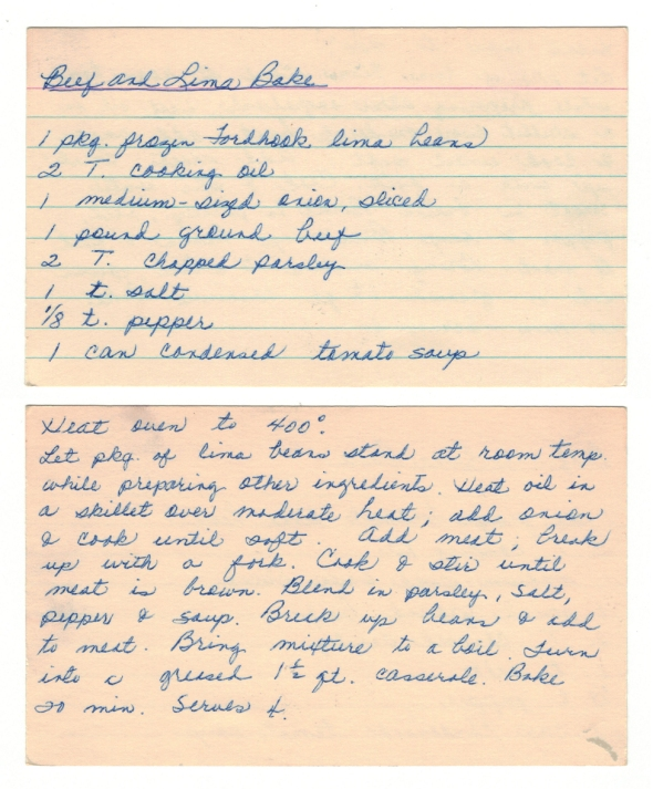 A Scan Of Mom's Beef And Lima Bake Recipe Card