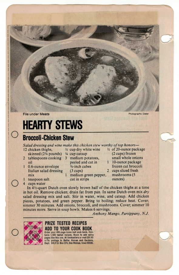 A Scan Of Mom's Original Broccoli Stew Recipe