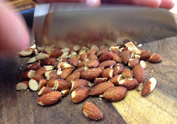 Almonds Being Diced For A Picadillo Recipe From Betty's Cook Nook
