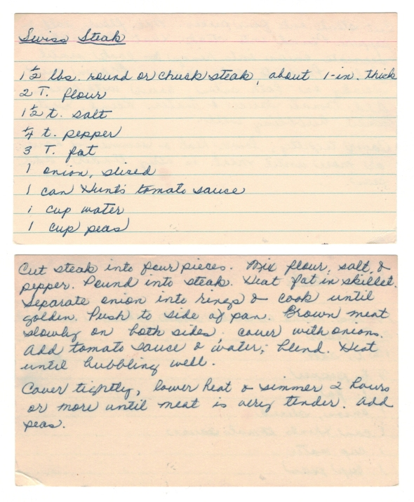 A Scan Of Mom's Swiss Steak Recipe From Betty's Cook Nook