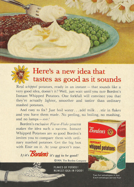 A Vintage Borden's Potatoes Picture From 1959