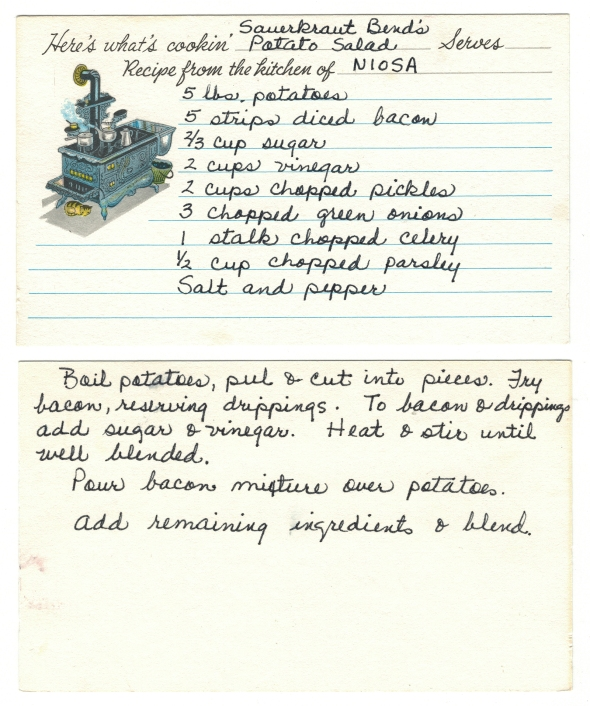 A Scan Of Mom's Recipe For Sauerkraut Bend's Potato Salad